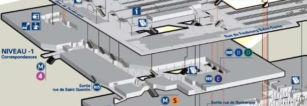 Plan niveau -1 gare du Nord