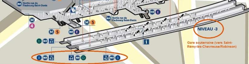 Plan niveau -3 Gare du Nord